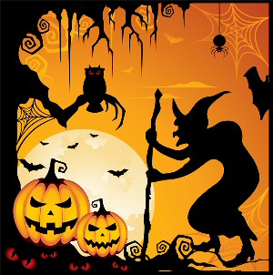 Halloween: Scene with a witch, dead tree, bats, ghosts, spider, spider spin web, spider's web, spin, owl, and pumpkins (Jack O'Lanterns). / Halloween: Scene med en heks, dødt træ, flagermus, spøgelser (genfærd), edderkop, edderkop spinder spind, edderkoppespind, spind, ugle og græskar (udskårne græskerhoveder).