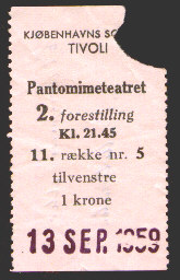 The Pantomime Theatre: Ticket from 1959