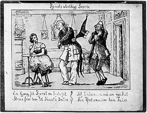 Old line drawing of Pantomime Performance